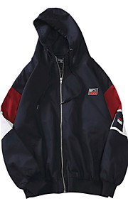 男性用 日常 レギュラー ジャケット, ソリッド フード付き 長袖 ポリエステル ブラック / イエロー L / XL / XXL