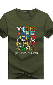 Hombre Deportes Tallas Grandes Estampado - Algodón Camiseta, Escote Redondo Letra Gris XXXL / Manga Corta / Verano