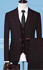 男性用 スーツ, ソリッド ピークドラペル ポリエステル ブルー / ブラック / ルビーレッド XXL / XXXL / XXXXL