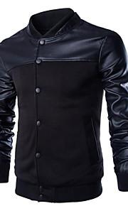 男性用 日常 レギュラー ジャケット, ソリッド Vネック 長袖 ポリエステル ブラック / ダックグレー XL / XXL / XXXL