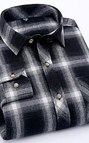 メンズプラスサイズのコットンシャツ - カラーブロックシャツカラー