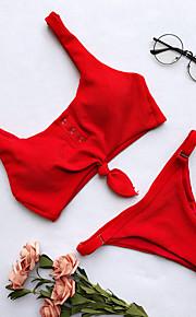 女性用 スポーティー ベーシック ルビーレッド ピンク グレー 三角形 チーキー タンキニ スイムウェア - ソリッド バックレス リボン S M L ルビーレッド