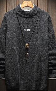 Муж. Однотонный Пуловер Осень Черный / Серый XXXL / XXXXL / XXXXXL