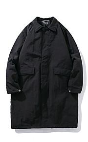 男性用 日常 ベーシック ソリッド ロング パッド入り, コットン 長袖 シャツカラー ブラック / グレー M / L / XL