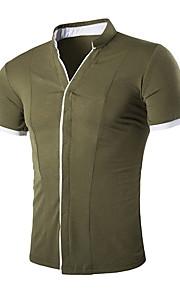 メンズアジアサイズシャツ - カラーブロックvネック
