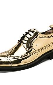 Miesten Oxfords-painatus Kiiltonahka Kevät kesä Liiketoiminta / Klassinen Oxford-kengät Hengittävä Kulta / Musta / Hopea / Häät