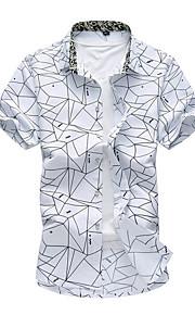男性用 プラスサイズ シャツ ストライプ