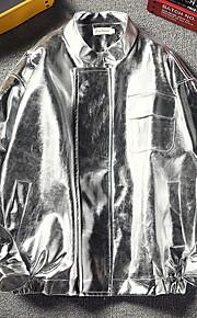 男性用 日常 秋 レギュラー ジャケット, ソリッド シャツカラー 長袖 ポリエステル ゴールド / シルバー XXXL / XXXXL / XXXXXL