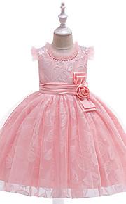 Děti Dívčí Aktivní / Sladký Jednobarevné Výšivka Bez rukávů Délka ke kolenům Šaty Světlá růžová