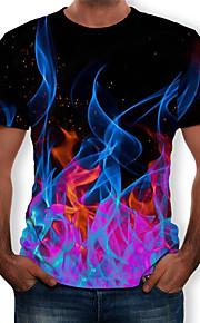 Miesten Pyöreä kaula-aukko Painettu Color Block / 3D / Kuvitettu T-paita Musta XXXXL