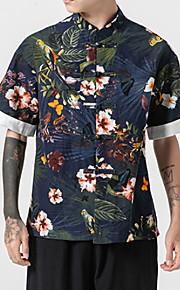 Skjorte Herre - Blomstret Navyblå XXXL