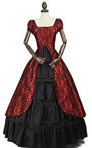 Princeznovské Rococo Viktoria Tarzı Kostým Dámské Šaty Kostým na Večírek Kostým Černá / červená Retro Cosplay Bavlna Plesová maškaráda Party Bez rukávů Pod rameny Na zem Long Length Větší velikosti