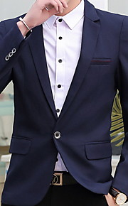Муж. Блейзер Рубашечный воротник Полиэстер Винный / Светло-синий / Хаки XL / XXL / XXXL
