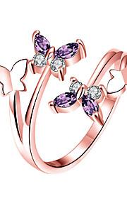 Dámské Bílá Band Ring Prsten Boxer Pokovená platina Růže pozlacená Umělé diamanty Motýl stylové Jednoduchý Evropský korejština Elegantní Fashion Ring Šperky Stříbrná / Růžové zlato Pro Svatební Dar