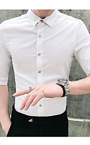 Heren Overhemd Effen Zwart XL