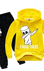 Děti Chlapecké Aktivní Komiks Dlouhý rukáv Bavlna / Spandex Sady oblečení Žlutá