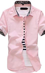 Herrn Solide / Einfarbig Hemd Patchwork Marineblau L
