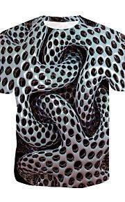 Miesten Pyöreä kaula-aukko Puuvilla Painettu Polka Dot / Color Block / 3D T-paita Harmaa XXXXL