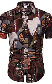 Skjorte Herre - Geometrisk / Tribal, Trykt mønster Grunnleggende Brun XXXL