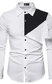 Муж. Пэчворк Рубашка Однотонный / Контрастных цветов Белый L