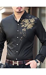 Муж. Рубашка Однотонный Черный XXXXL
