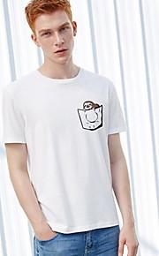 Ανδρικά T-shirt Γεωμετρικό Στάμπα Λευκό L