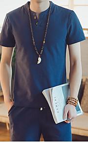 Hombre Camiseta Un Color Azul Marino XXXL