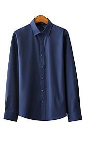 Heren Overhemd Effen Marineblauw XXXL