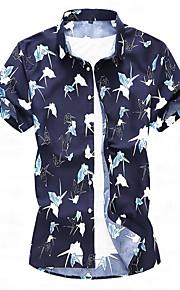 Heren Print Overhemd Geometrisch blauw XXXXL