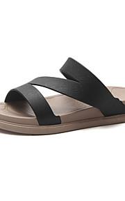 여성용 구두 PVC 여름 슬리퍼 플립 플롭 플랫 일상 용 화이트 / 블랙 / 핑크