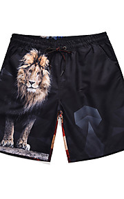 Herre Sporty / Basale Chinos / Shorts Bukser - Dyr / Løve Sort