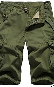 Hombre Básico Shorts Pantalones - Un Color Amarillo
