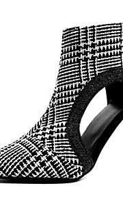 Naisten PU 봄 & Syksy Vintage / Englantilainen Bootsit Stilettikorko Terävä kärkinen Nilkkurit Valkoinen / Musta / Juhlat