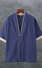 Skjorte Herre - Fargeblokk, Lapper Vintage Navyblå XXXL
