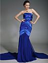 Mermaid / trâmbiță tren de curte tren chiffon stretch satin rochie de seară cu draperie de ts couture®