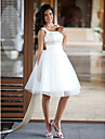 Princess Scoop Neck Knee Length Satin / Tulle Made-To-Measure Wedding Dresses with Beading / Sash / Ribbon by LAN TING BRIDE®