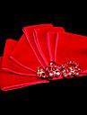 superba satin roșu cu pietre nunta caciula de mireasa