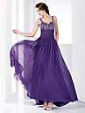 Linea-A Con bretelline Lungo Chiffon Serata formale / Ballo militare Vestito con Perline Lustrini di TS Couture®