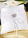 perna de inel în satin alb cu pietre inimă dublă inimă ceremonia de nuntă