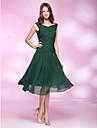 A-line V-gât de genunchi lungime șifon partid rochie cu beading de ts couture®