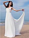 Coloană / Teacă În V Lungime Podea Șifon Made-To-Measure rochii de mireasa cu Mărgele / Eșarfă / Panglică de LAN TING BRIDE®
