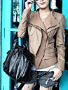 Long Sleeve Turndown Collar Party/ Career PU Jacket With Pockets  (More Colors)