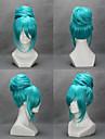 Pelucas de Cosplay Vocaloid Hatsune Miku Videojuegos de anime Pelucas de Cosplay 18 pulgada Fibra resistente al calor Mujer Pelucas de Halloween