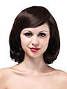 Peruk av äkta hår med hög kvalitet och mörkbrun färg (mono top)