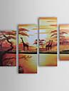 HANDMÅLAD Landskap vilken form som helst Duk Hang målad oljemålning Hem-dekoration Fyra paneler