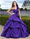 נשף נסיכה כתפיה אחת עד הריצפה טפטה ערב רישמי / בת מצווה שמלה עם פרח בד בהצלבה על ידי TS Couture®