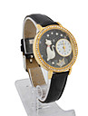 Läder Quartz Glas rund form med STRASS Klänning Watch