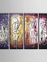 Oil Painting Hand Painted - Abstract Canvas Four Panels