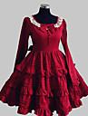 Prinsesse Soet Lolita Dame Kjoler Cosplay Roed Langermet Knelang kostymer