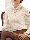 Kvinners Lace Slim T-skjorte med Beaded Collar